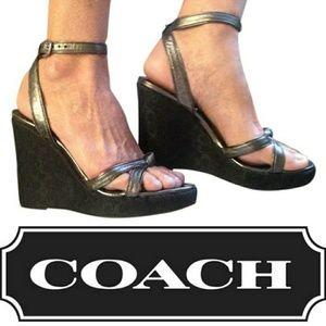 Coach 7B Metallic Ankle Strap Wedge High Heels
